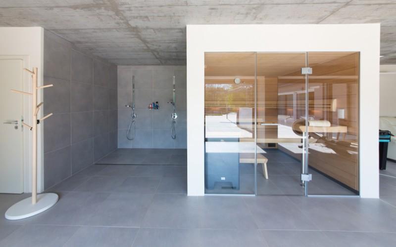 Designová prosklená sauna Klafs Premium s hvězdným nebem