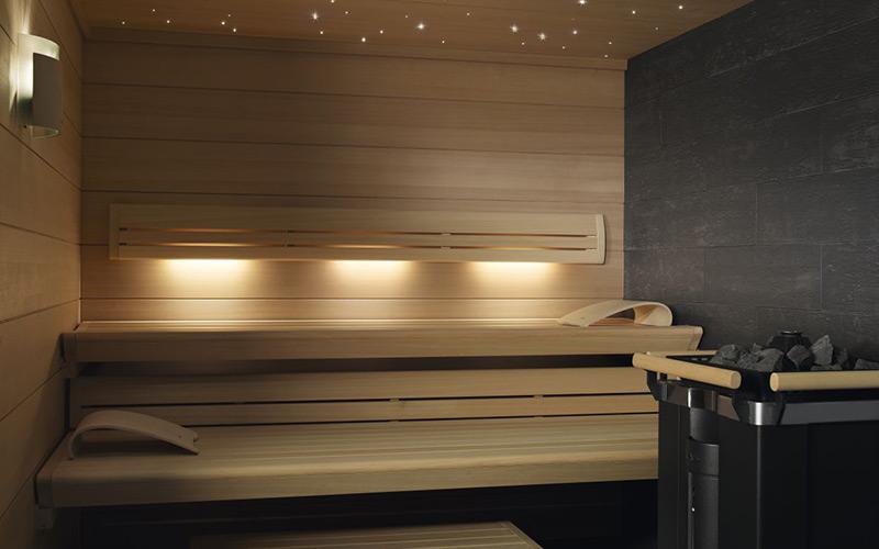 Dvouúrovňová sauna Klafs s hvězdným nebem