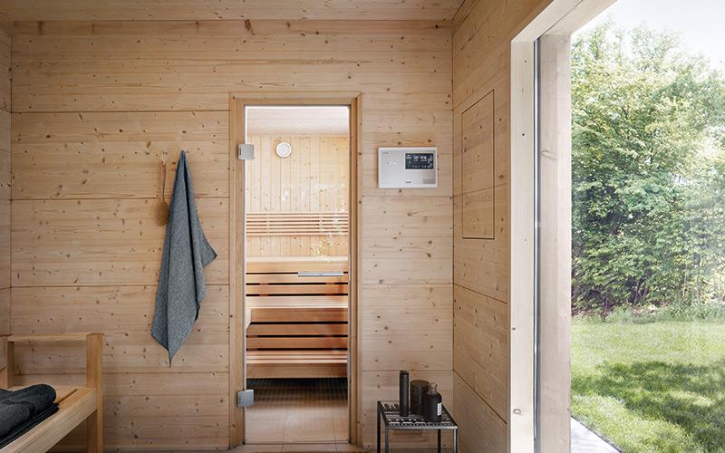 Venkovní finská sauna Klafs Talo s místem pro převlečení