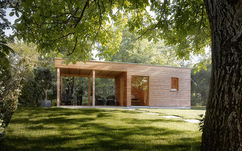 Venskovní srubová finská sauna Klafs Talo se šatnou a místem pro odpočinek