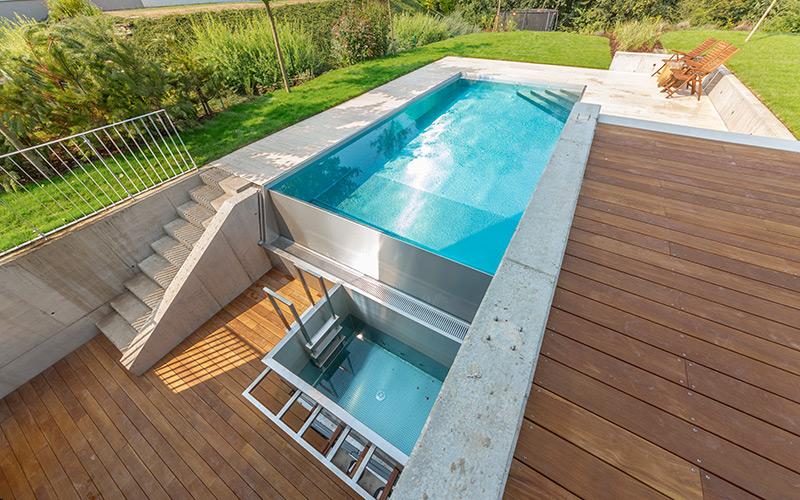 Unikátní nerezový přelivní bazén Imaginox s nerezovým ochlazovacím bazénkem
