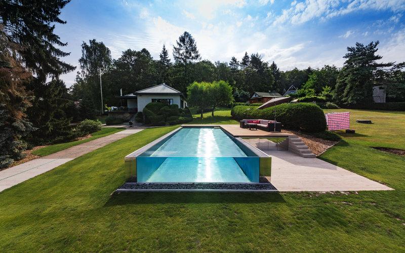 přelivný bazén Imaginox s prosklením